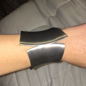 EUC Thick Silver pointed cuff bracelet